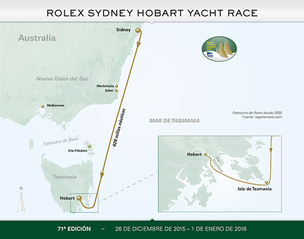 ROLEX SYDNEY HOBART COURSE MAP